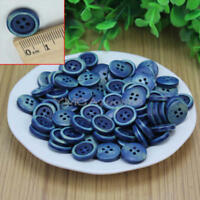 100Pcs 4 Holes Dark Blue Wood Wooden Round Buttons Sewing Scrapbooking 15mm New