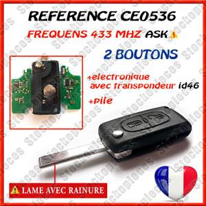 PLIP CLEF CE0536 ID46 PEUGEOT 207 307 308 SW 2 BOUTONS LAME AVEC RAINURE / ASK