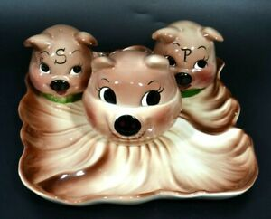 VTG DE FOREST of CALIF BROWN PIGS S & P, SNACK TRAY & COVERED RELISH 4 PC SET