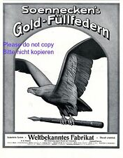 Soennecken Füllfeder XL Reklame 1914 Füller Federhalter Adler Werbung Gold Feder