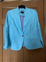Talbots Women's Aberdeen Jacket Blazer Sz 16P Blue 100% Linen Lined Elegant