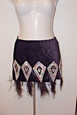 Skirt Sequin Ostrich Feather Mini Black Size Medium/Large**PROFESSIONAL QUALITY!