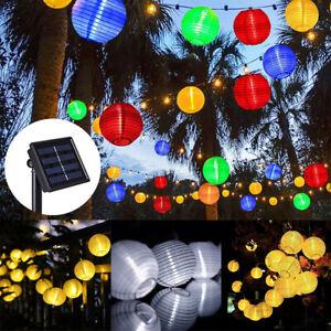 LED Solar Lichterkette Lampionkette Lampion String Licht Außen Garten Party Deko