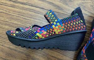 Bernie Mev Women's 6 /Euro 37 Woven Shoes Wedge Peep Toe Multi Color Exc.Cond.