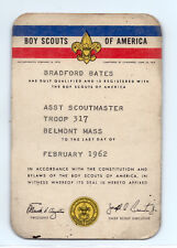 1962 Boy Scouts of America Scoutmaster ID card, Troop 317, Belmont, Mass.