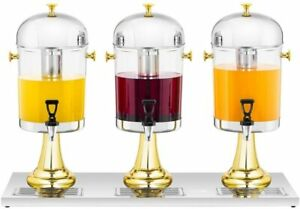 Royal Catering Triple Juice Dispenser Cold Beverage Iced Cooling Inserts 3 x 8L