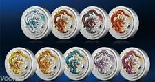 Perth Mint Australia 2012 Dragon Colored 1 oz .999 Silver Coin (Set of 9 coins)