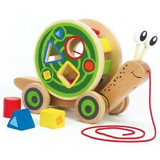 Hape Walk-A-Long Snail Toddler 5 Piece Wooden Push & Pull Toy 12 Month + NIB
