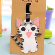 Grey Kitten Cat Fashion Luggage Tags Cute Holiday Suitcase Labels Travel Bag ID