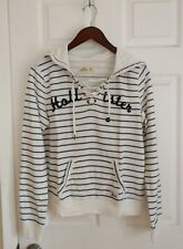 NWT- Hollister by Abercrombie WomenLace Up Graphic Hoodie (M, Blue Stripe)