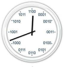 BINARY Silent Wall Clock - Home, Office or Classroom, Computer Code - GREAT GIFT