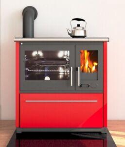 EEK A+ Küchenofen Holzherd Plamen 850 rot, linke Version - 8 kW Dauerbrandherd