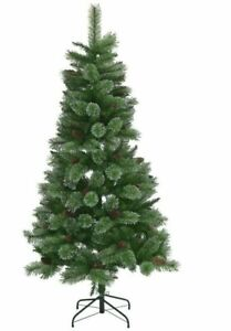 Home 6ft Glitter Tip Christmas Tree With Pine Cones - Green