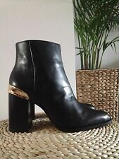 ZARA 100% LEATHER BLOCK HIGH HEEL ANKLE BOOTS WITH GOLDEN PLAQUE, UK 6 / EUR 39