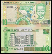 Gambia P26, 10 Dalasis, Sacred Ibis, boy / Central Bank - see UV & w/m images
