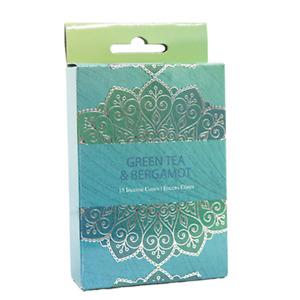 Green Tea & Bergamot Incense Cones Home Fragrances Aroma Scent Relaxing Holder P
