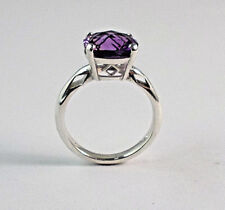 STERLING SILVER 10X10 CUSHION  CUT AMETHYST RING WITH DIA SHAPES  SIZE 6
