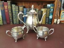 Vintage Silver Plate Tea Set - Teapot, Sugar Bowl And Milk Jug