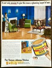 1947 Johnson's Paste Wax Print Ad Gleaming Carpet of Wax Fibber McGee and Molly