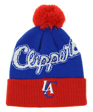 Adidas NBA Toddlers Los Angeles Clippers Cuffed Knit Hat With Pom, Blue/Red