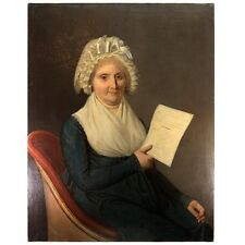 """LG 36.5"""" Antique French Oil Painting, 1803 Portrait of Dame Marie-Louise Boucher"""