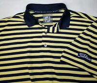 FootJoy Titleist Tour Issue Large S/S Golf Polo Shirt Blue Yellow Striped Men's