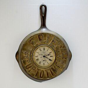 Rare Antique Griswold Erie Cast Iron Skillet UPTOTIME Advertising Clock - pan vr