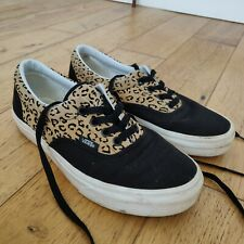VANS off the wall  womens black & leopard print lace up trainers Size 5 Euro 38