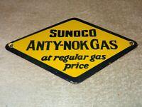 """VINTAGE SUNOCO ANTY-NOK GAS $"""" 8"""" PORCELAIN METAL GASOLINE & OIL SIGN PUMP PLATE"""
