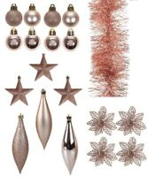 Rose Gold Plastic Christmas Xmas Tree Bauble Tinsel Star Ornament Decoration Lot