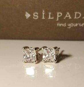 Silpada 925 Sterling Silver Noble P1304 Cubic Zirconia Princess Cut Earrings NIB
