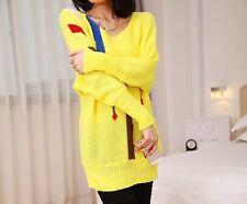 Caldo morbido maglione maglia pullover donna giallo girocollo misto lana 4248