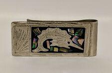 Vintage Alpaca Mexico Silver Abalone Inlay Money Clip Fish Design