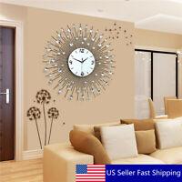 US 60*60CM Iron Art Metal Living Room Round Diamond Wall Clock Home Decor Indoor