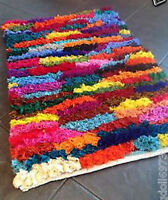 Multi Colour Shaggy Rag Rug 60cm x 90cm Small Bright Tufted Chindi Mat