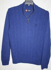 CHAPS Mens MEDIUM Cotton Sweater Cable Knit Royal Blue 1/2 Zipper Ribbed Collar
