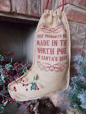 Vintage Hessian Made in North Pole Christmas Stocking Xmas Gift Sack / Stockings