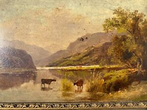 ANTIQUE HUSDSON RIVER VALLEY PAINTING OF COWS/ CROPSEY,COLE INFLUENCES :1800s