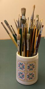 A Lot of 40+ Oil Painting Brushes Winsor & Newton Princeton Grumracher etc Used