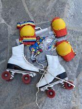Size 7 Vintage Womens White Roller Skates & Vintage California Knee Pads