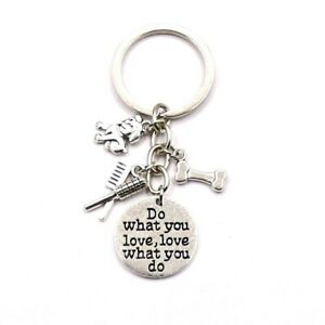 DO WHAT YOU LOVE LOVE WHAT YOU DO DOG GROOMER CHARMS KEYRING KEY CHAIN GIFT BAG