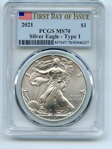 2021 $1 American Silver Eagle 1oz Dollar Type 1 PCGS MS70 First Day of Issue