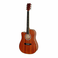 NEW Pyle PGA53LBR Left Handed 6 String Acoustic Guitar  Full Scale  Acc Kit