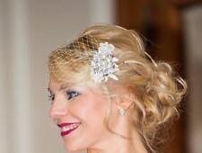 Birdcage Veil Bridal Blusher #1920s Boho Gatsby Wedding Flower Crystal HairClip