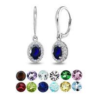 925 Silver Birthstone & Topaz Accent Dainty Oval Dangle Halo Leverback Earrings