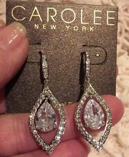 ❤️Carolee New York Sparkling Clear Gems Silver Swing Chandelier EARRINGS $65.00
