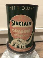Vintage 1930s Sinclair Opaline Motor Oil Original Oil Can 1qt Empty White Dino