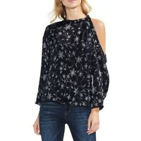 VINCE CAMUTO Women's Faux Stitch Floral Cold Shoulder Blouse Shirt Top TEDO