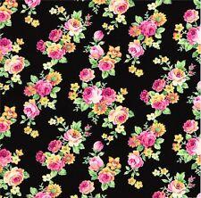 Japanese Import - Ruru Bouquet Tea Party - Roses - Black cotton fabric