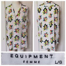 Equipment Femme Womens Floral Sleeveless Button Up Blouse Multi Colored Silk Lg.